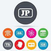 Language icons. JP, TR, GR and GB translation.