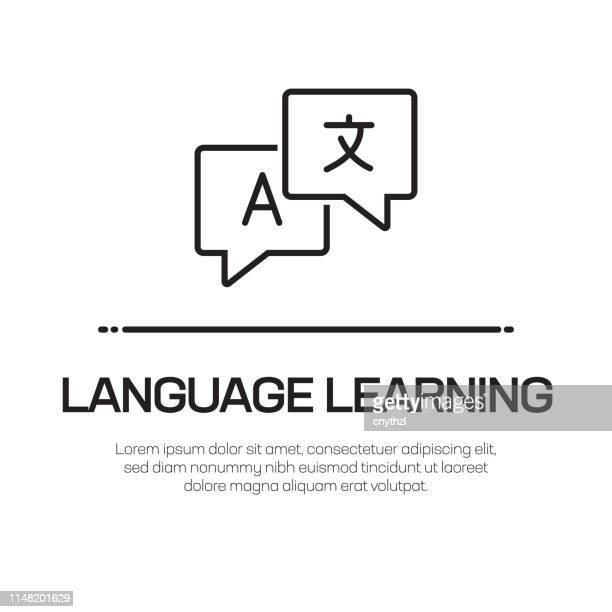 言語学習ベクトル線アイコン-シンプルな細線アイコン、プレミアム品質のデザイン要素 - 言語点のイラスト素材/クリップアート素材/マンガ素材/アイコン素材