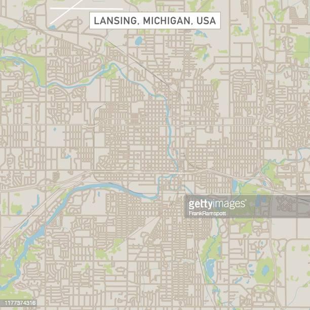 ランシング ミシガン米国シティストリートマップ - ランシング点のイラスト素材/クリップアート素材/マンガ素材/アイコン素材