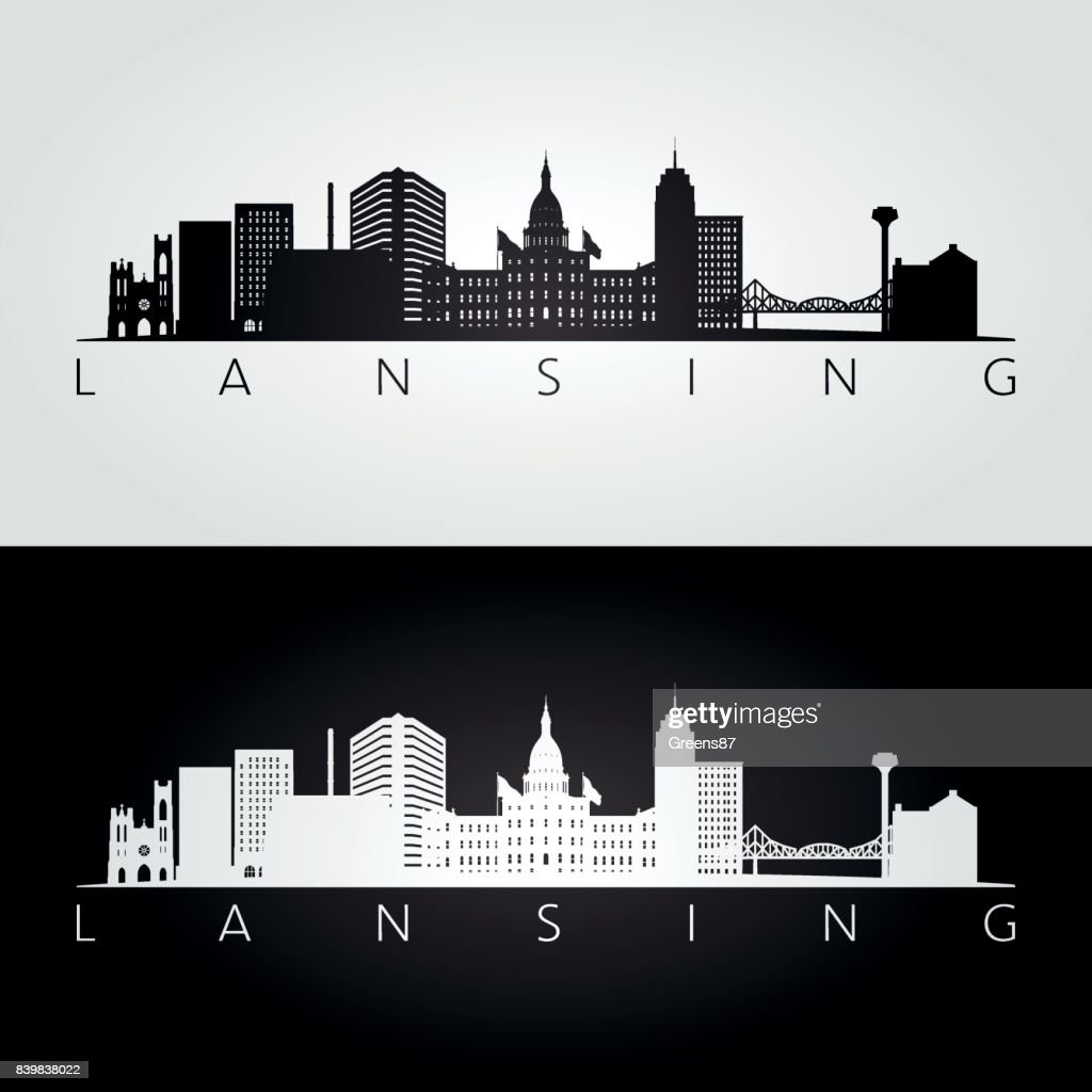 Lansing USA skyline and landmarks silhouette, black and white design, vector illustration.