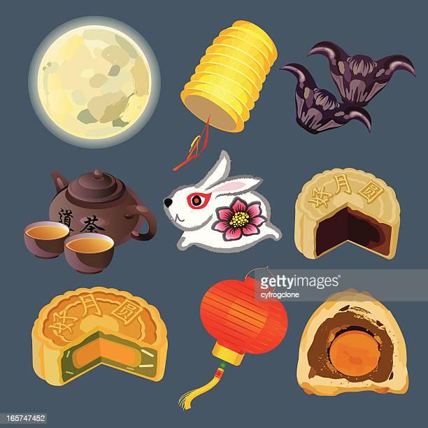 lantern festival - meat pie stock illustrations, clip art, cartoons, & icons