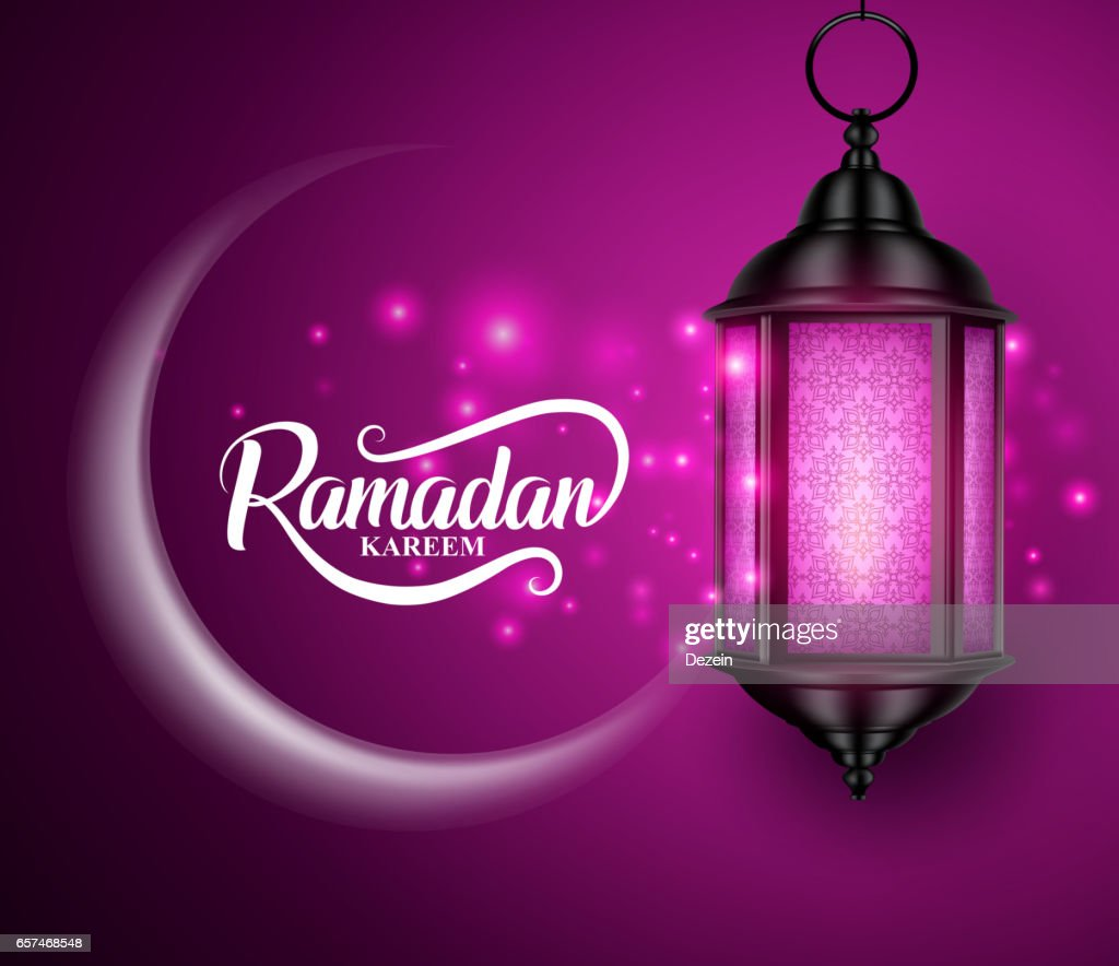 Lantern or fanous hanging with crescent moon for ramadan
