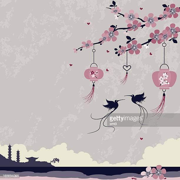 lanterns and birds - pagoda stock illustrations, clip art, cartoons, & icons