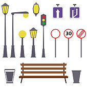 Lanterns and outdoor elements: bench, signs, urn. Set of urban elements. Vector flat illustration