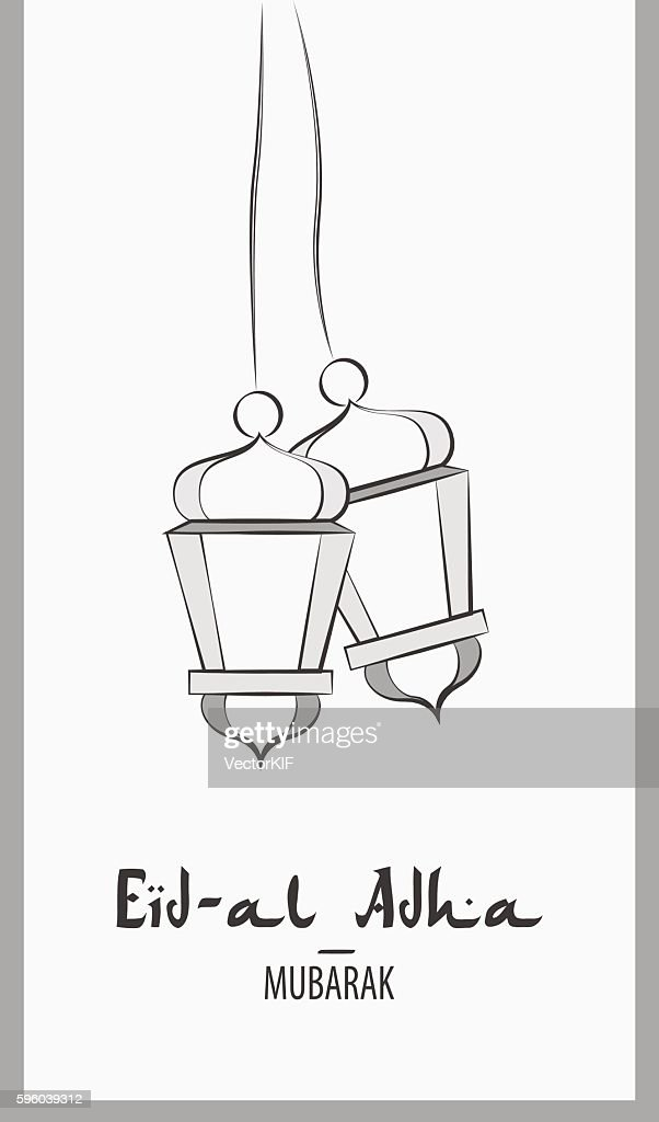 Lanterns for holiday. Black and white vector illustration