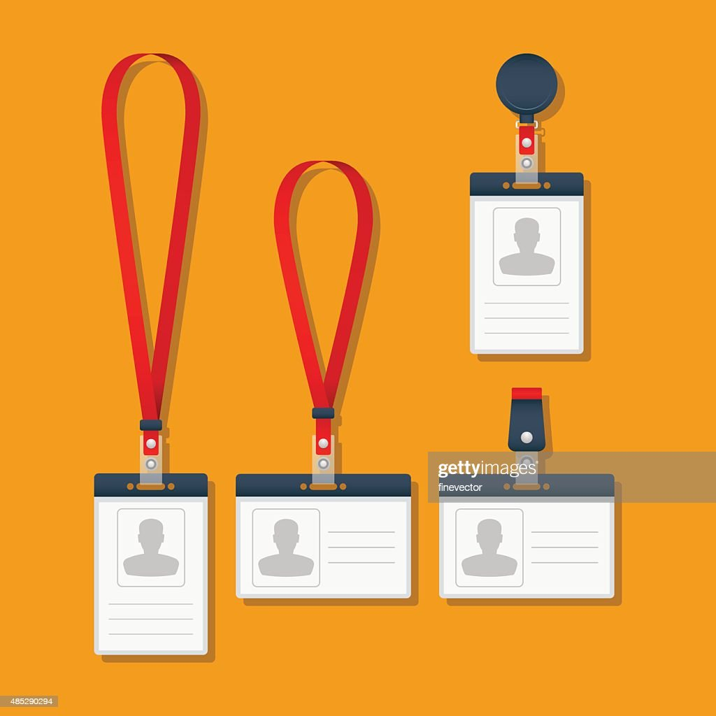 Lanyard Name Tag Holder And Badge Templates Vector Art Getty Images