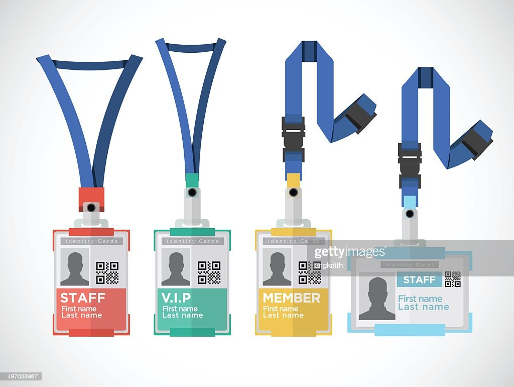 Lanyard, name tag holder end badge templates - vector illustration