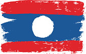 Laos Flag Vector Hand Painted with Rounded Brush