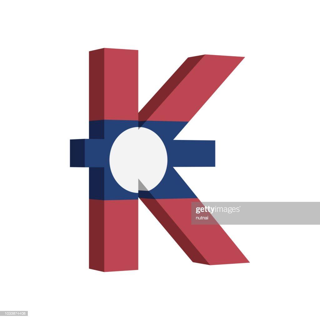 Laos Kip (LAK) currency symbol with flag - Vector