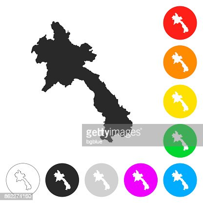 Laos Map Of Blue Dots On White Background Vector Art Getty Images - Laos map vector