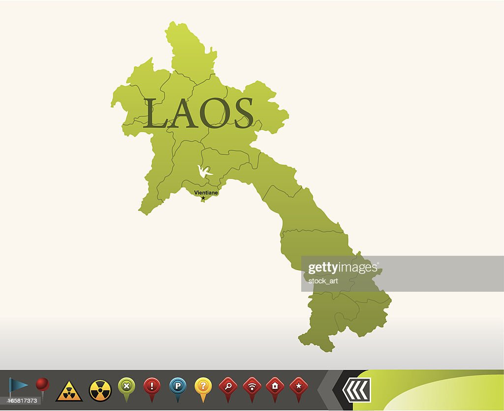 Laos Map With Navigation Icons Vector Art Getty Images - Laos map vector