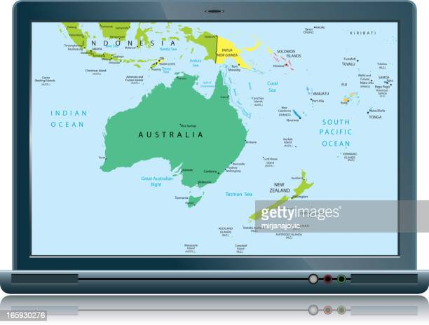 Lap top with  Australia and Oceania map