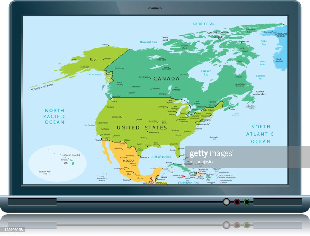lap top with north america map countries vector art getty images