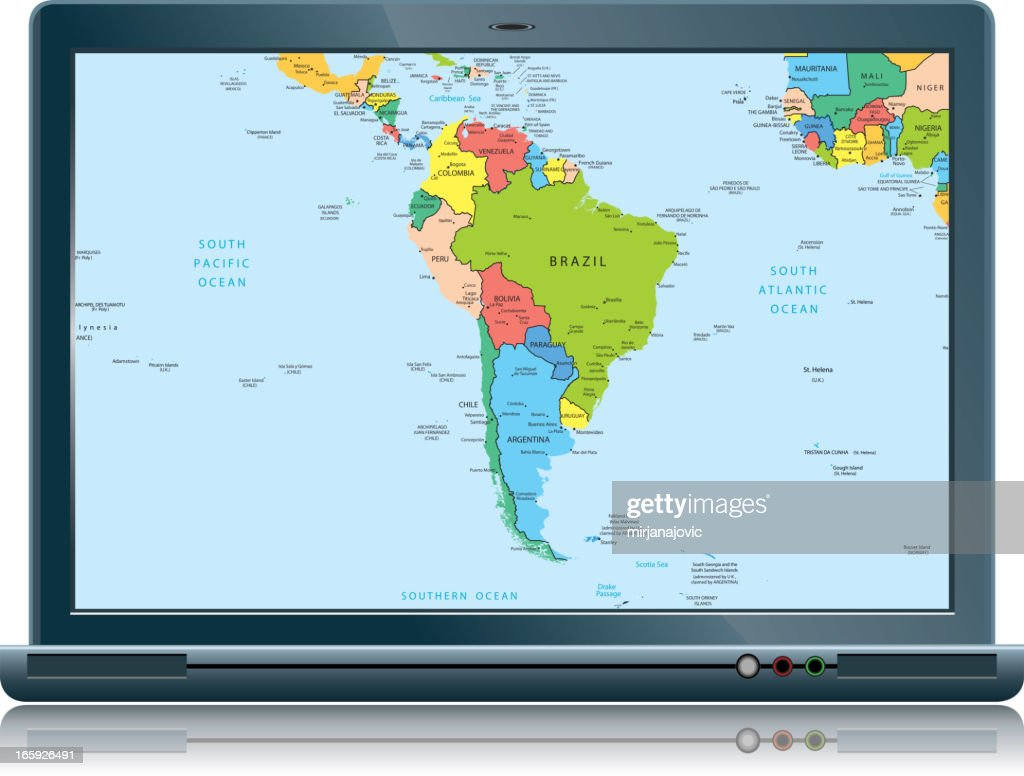 Lap Top With South America Map Countries And Cities stock vector ...