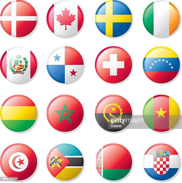 lapel flag set - croatian flag stock illustrations, clip art, cartoons, & icons