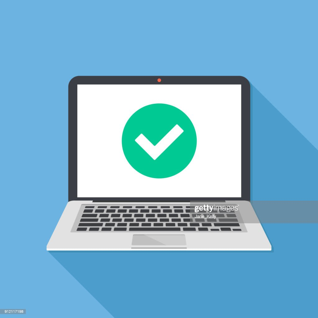 Laptop and check mark. Notebook and round green tick icon, checkmark on white screen. Successful update, accept, access granted, confirm, ok button, task completed concepts. Modern long shadow flat design. Vector illustration