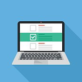 Laptop and checkboxes with check mark. Checklist, white tick on laptop screen. Choice, survey concepts. Modern flat design vector illustration