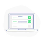 Laptop and checkboxes with check mark. Checklist, white tick on laptop screen - Vector Illustration