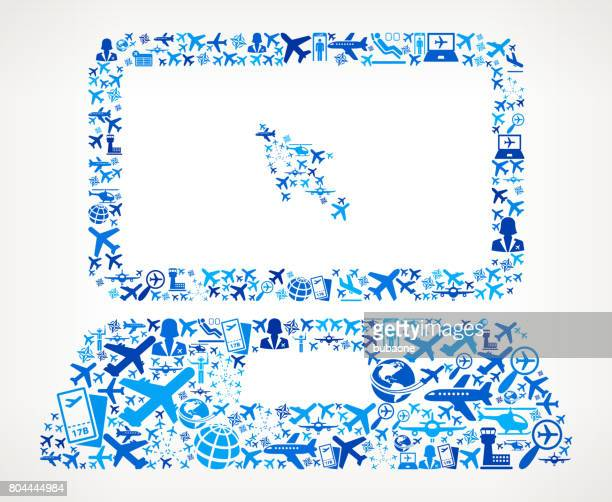 Laptop and Cursor Aviation and Air Planes Vector Graphic