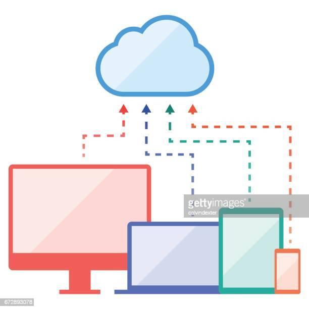 illustrations, cliparts, dessins animés et icônes de les ordinateurs portables et de bureau et périphériques mobiles - écran numérique