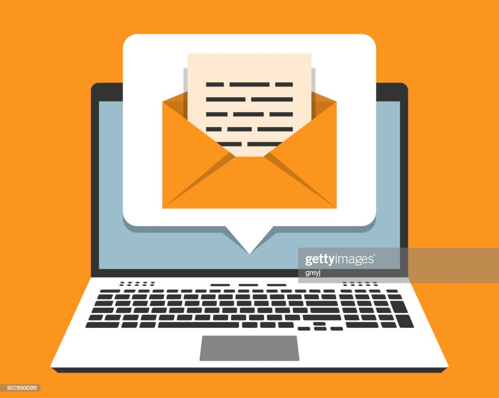 Laptop and email notification on screen in pop-up bubble. Vector illustration in flat design style