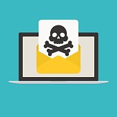 Laptop and envelope with skull and crossbones. E-mail with spam or internet virus