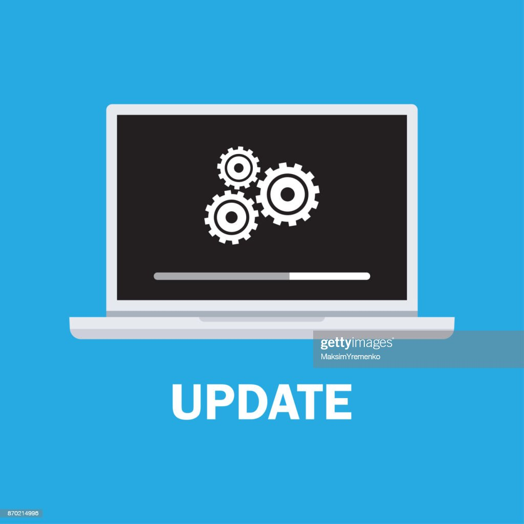Laptop and gears, data update.