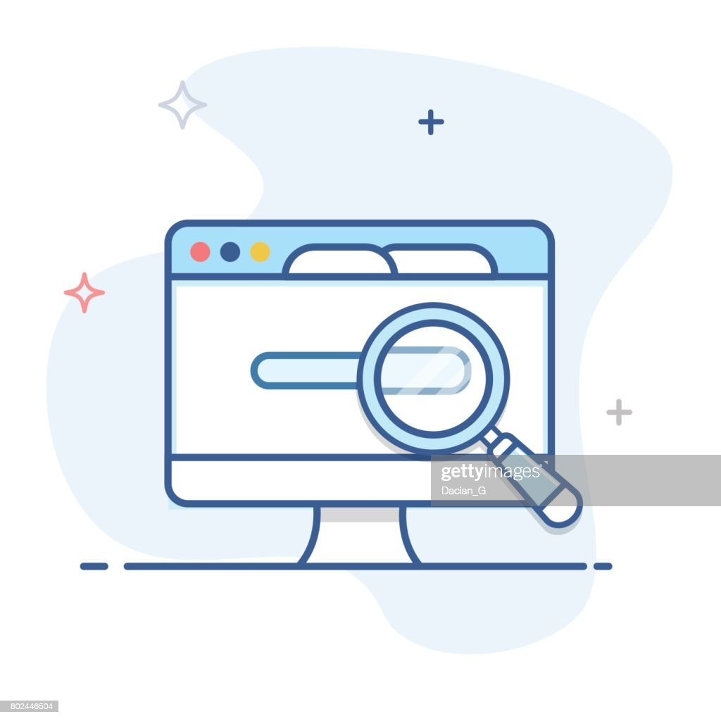 Laptop and magnifier line illustration