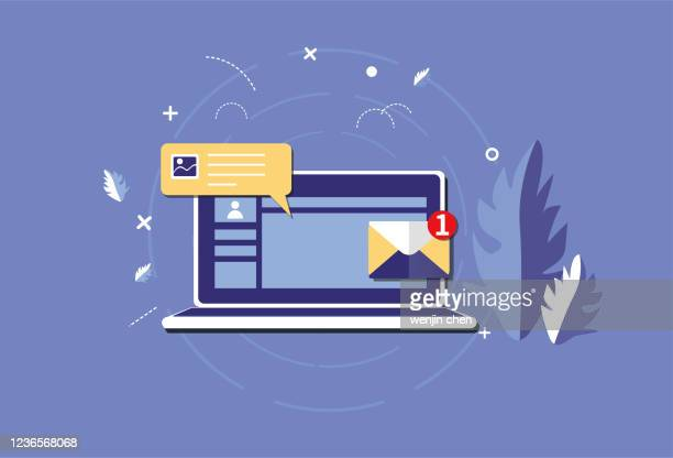 ラップトップと新しいメール情報 - send点のイラスト素材/クリップアート素材/マンガ素材/アイコン素材