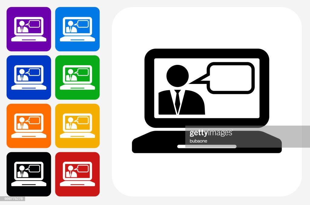 Laptop und Online-Chat-Symbol Square Buttonset : Stock-Illustration