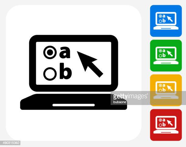 Laptop and Online Testing Icon Flat Graphic Design