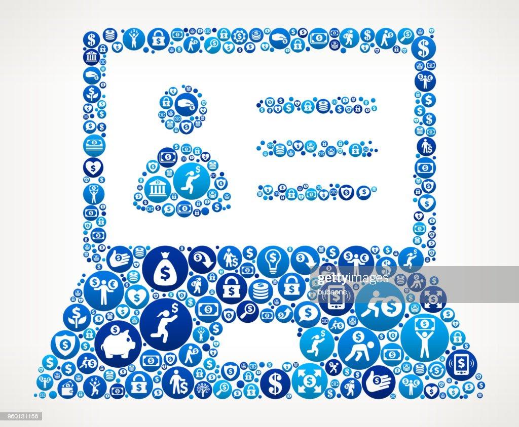 Laptop und Person Geld blaues Symbol Muster Profilhintergrund : Stock-Illustration