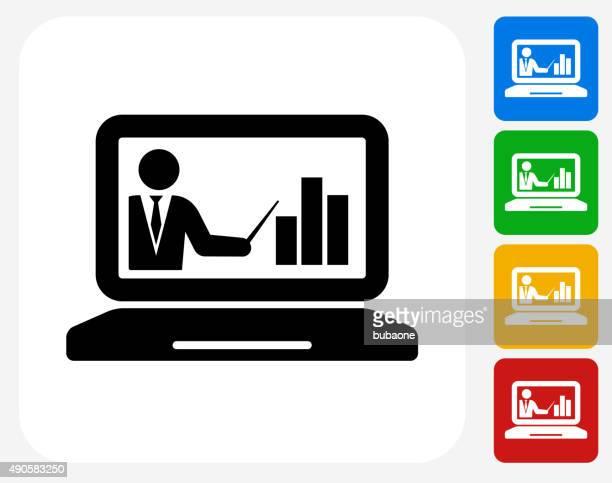 Laptop and Progress Presentation Icon Flat Graphic Design