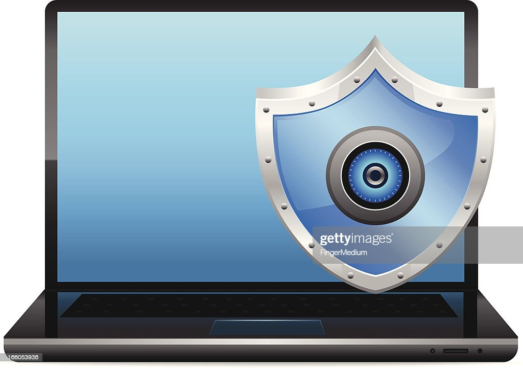 Laptop And Shield Antivirus stock illustration - Getty Images