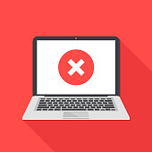 Laptop and x mark. Notebook and round red cross mark icon on white screen. Error window, exit button, no, cancel, decline, 404 error page not found concepts. Modern long shadow flat design. Vector illustration