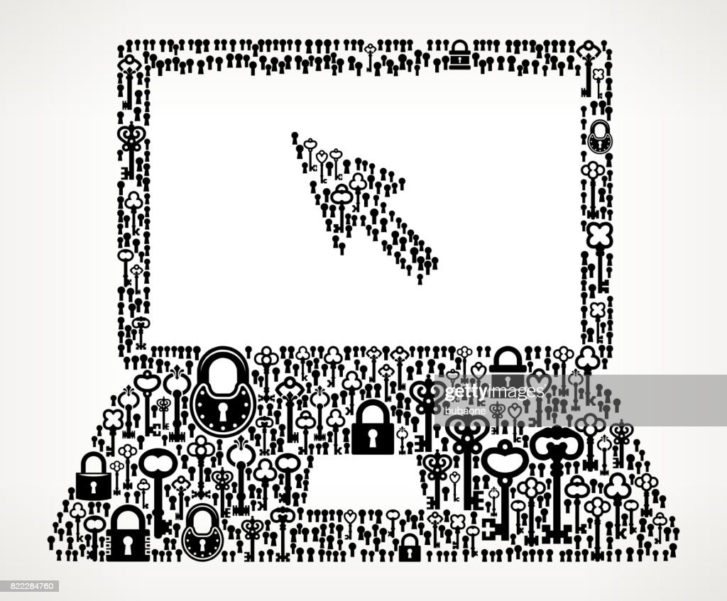 Laptop Antique Keys Black and White Vector Pattern : stock illustration