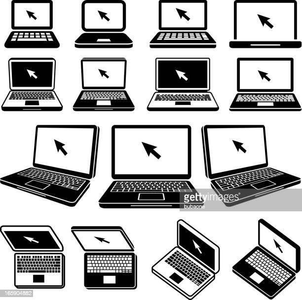 Laptop black and white royalty free vector icon set