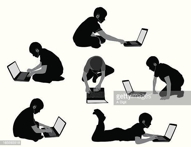 laptopboy - teil einer serie stock-grafiken, -clipart, -cartoons und -symbole