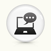 Laptop Communication icon on white round vector button