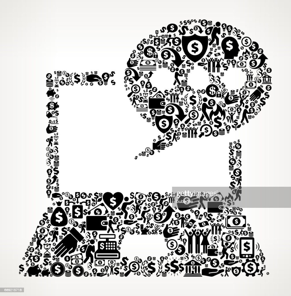 Laptop Communication  Money and Finance Black and White Icon Background : Stock Illustration