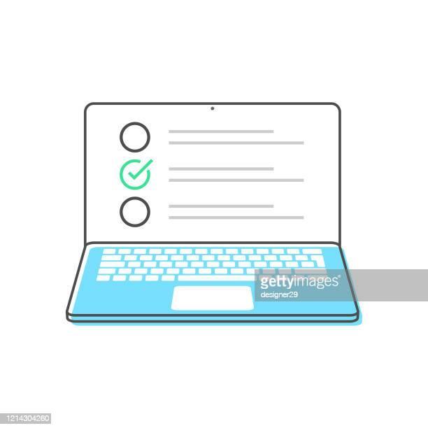 illustrazioni stock, clip art, cartoni animati e icone di tendenza di laptop computer and checkboxes flat design vector design on white background. - computer portatile