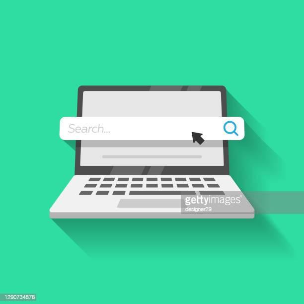 laptop-computer und suchleiste icon vector design. - computermaus stock-grafiken, -clipart, -cartoons und -symbole