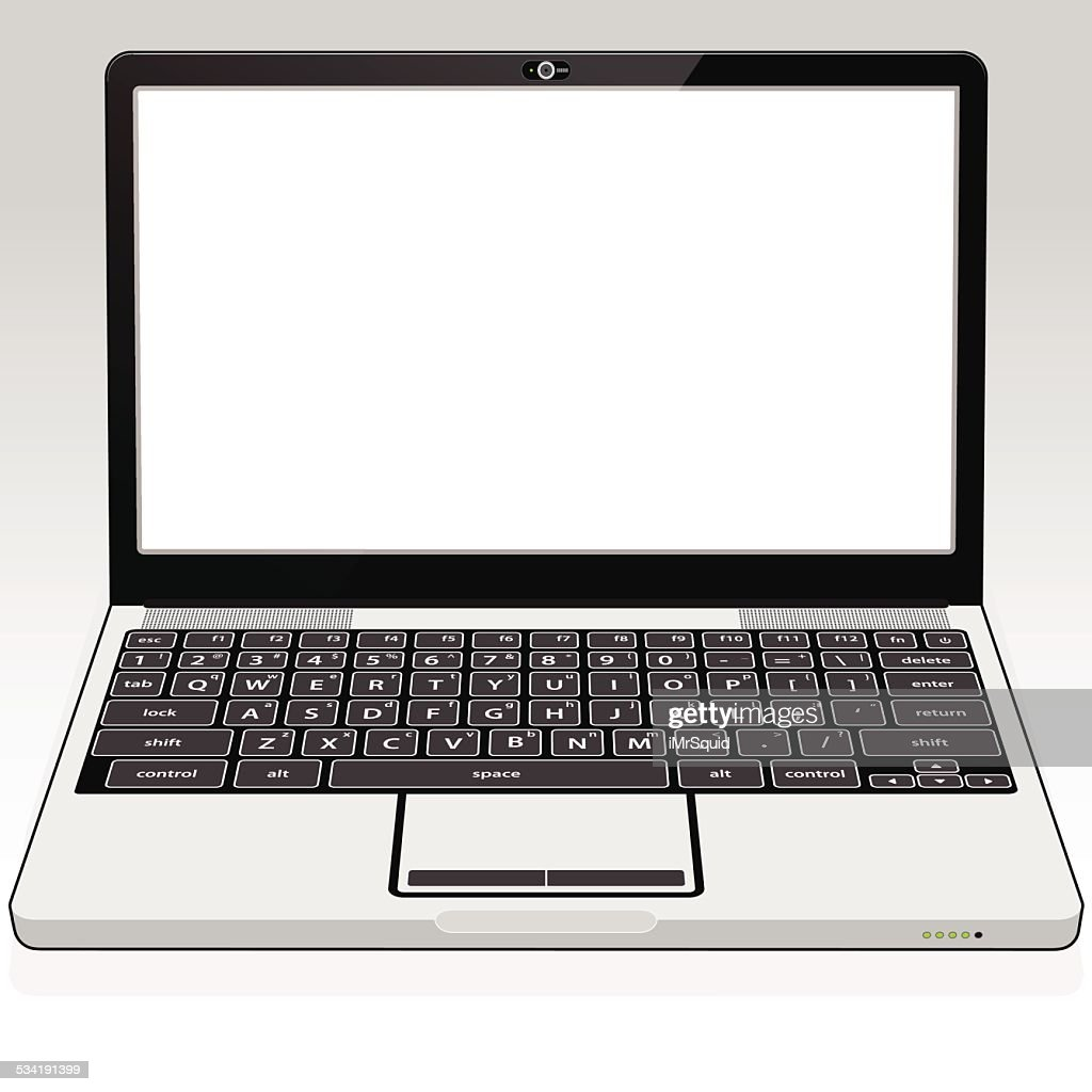 Laptop Computer Blank Screen Vector Art
