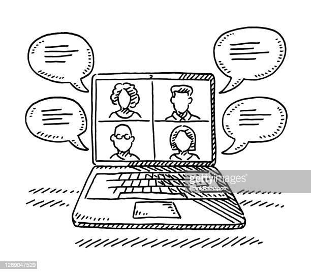 laptop computer digital meeting zeichnung - laptop benutzen stock-grafiken, -clipart, -cartoons und -symbole