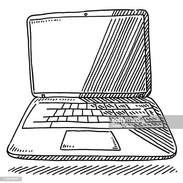 laptop-computer-zeichnung - frankramspott stock-grafiken, -clipart, -cartoons und -symbole