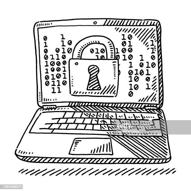 Laptop Computer Verschlüsselung Konzept Vorhängeschloss Zeichnung