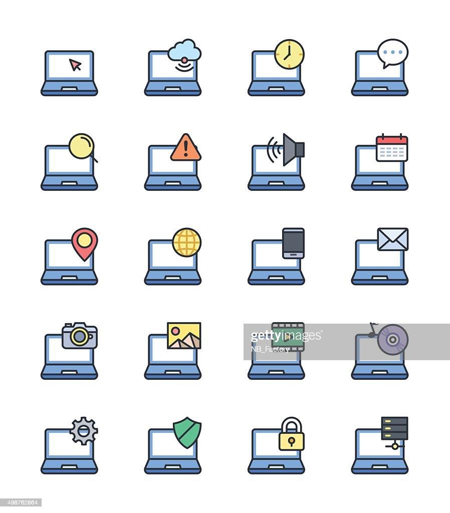 Laptop Computer icons, Color set