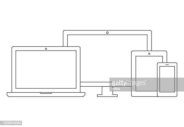 laptop, computer monitor, tv, tablet, smartphone wireframe icon set - iphone outline stock illustrations