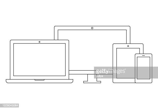stockillustraties, clipart, cartoons en iconen met laptop, computermonitor, tv, tablet, smartphone wireframe icon set - draadmodel