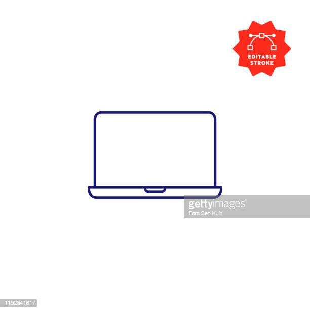 stockillustraties, clipart, cartoons en iconen met laptop computer enkele lijn pictogram met bewerkbare lijn en pixel perfect. - touchpad